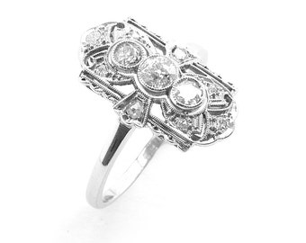 1930's - Diamond Plaque Cluster Ring in 18ct. White Gold
