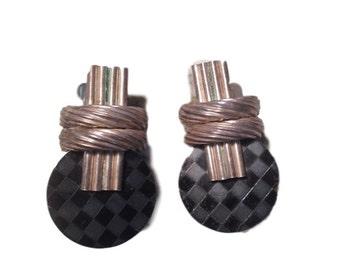 Vintage Domino Harlequin Silver Earrings
