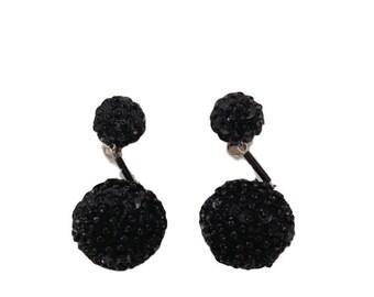 Vintage 80s Black Sequined Vintage Drop Clip Earrings