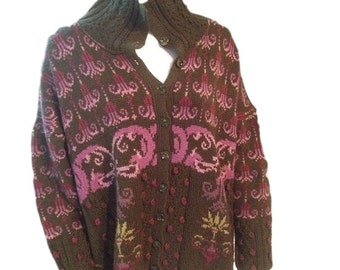 Sarah Keogh Wool Button Down Sweater - Made in the UK - Size Large