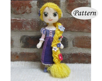 Amigurumi Pattern Crochet Doll Pattern Amigurumi Doll Pattern Amigurumi Princess Pattern - RAPUNZEL - Tutorial - PDF - Plush Doll Girl
