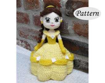 PATTERN - BELLE  - Amigurumi - Crochet Doll - Photo Tutorial - PDF