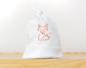 Newborn knotted hat with Orange Fox