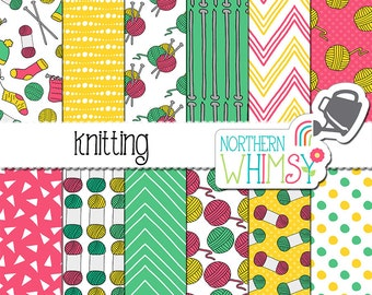 """Craft Digital Paper - """"Knitting"""" - pink, mint, and yellow seamless patterns with yarn & knitting needles - scrapbook paper - commercial use"""