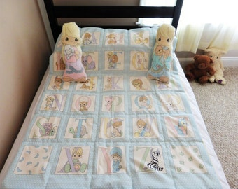 "Precious Moments Blanket, Precious Moments Quilt, Preciuos Moments Baby/Toddler Blanket, Alphabet Blanket, Alphabet Quilt, 34"" x 44"""