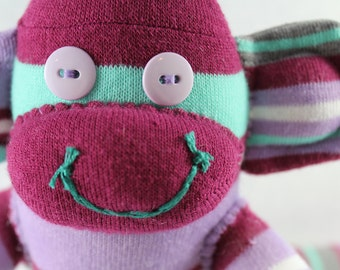 Sock Monkey / Striped Sock Monkey / Purple, Mint Green, White, Grey, Lavender / Mint Green Decor / Nursery Decor / Gifts for Her