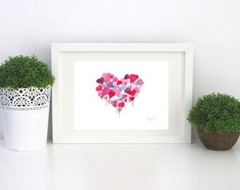 Floating Heart Print watercolor. Cute Heart Print. Wall Art. Balloon print. pretty Heart Print.