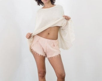 FRINGE SHORTS / PALE Pink / Raw Silk / Fringe detail / Beach style / Festival / Beachwear / Summer Holiday / Bohemian /