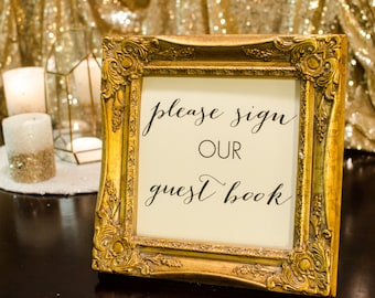 Wedding Guest Book Table Sign With Gold Frame