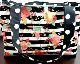 Black white striped  floral flower tote or diaper bag (other designs available)