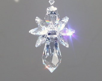 "Crystal Angel Suncatcher, 6 Beautiful Swarovski Crystal Octagons with a Crystal Halo and 38mm Prism, 6"" Long"