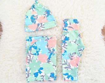 Garden Flowers Newborn Swaddle Set, Newborn Swaddle, Newborn Swaddle Wrap, Newborn Swaddle Blanket, Newborn Going Home Outfit Girl