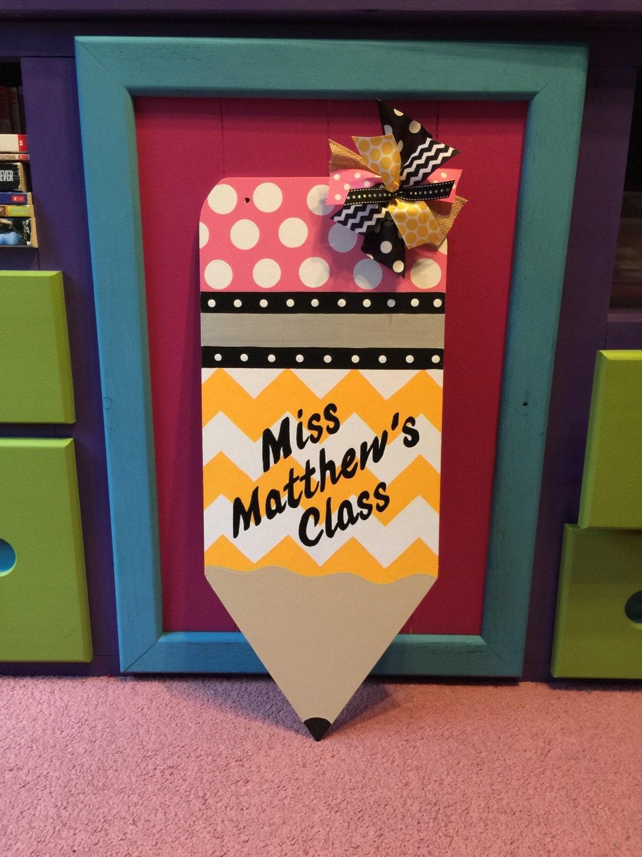 Teacher Pencil Door Hanger Personalized Teacher Gift Teacher