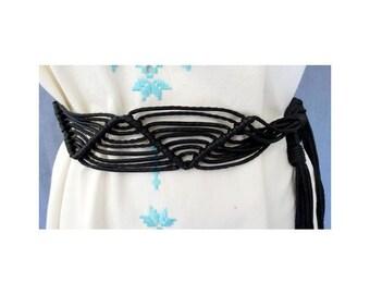 1970s black leather lacets straps BELT // Etnic 70s belt // Accessories // size free