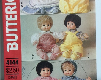 "Vintage 1980's  Butterick 4144 16"" Doll Clothes Pattern"