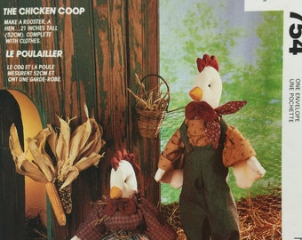 McCall's Crafts 754 21 Inch Stuffed Rooster, Stuffed Chicken, Sewing Pattern, Dress, Overall, Apron, Soft Sculptured, Animal Stuffed pattern