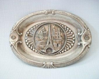 Paris Metal Ashtray, Vintage Eiffel Tower Souvenir Ashtray, Coin Holder or Trinket Dish, France Travel Souvenir