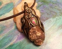 Yemaya Mermaid Necklace. Mermaid Jewelry w Genuine Fire Opal and Druzy Seashell Necklace. Nautical Jewelry. Mermaid Jewelry.  Ocean Jewelry