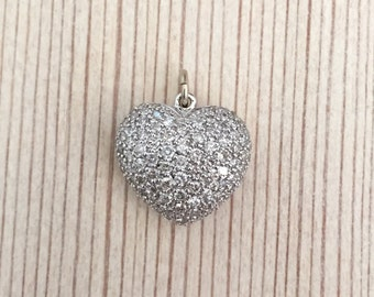 14k Gold Pave Diamond Puffy Heart Charm
