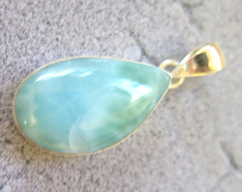 Beautiful Light Blue Larimar .925 Sterling Silver Pendant 38mm