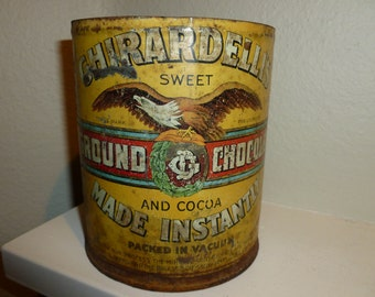 Vintage Ghirardelli's Sweet Ground Chocolate And Cocoa Can
