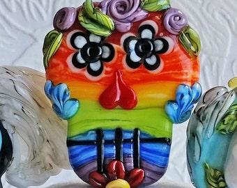 Rainbow Sugar Skull Focal by Sabrina Koebel Handmade Lampwork Beads