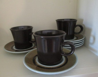 Franciscan Brown Nut Tree Cups and Saucers