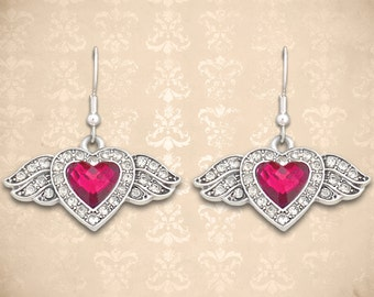 Small Winged Heart Earrings - 51081