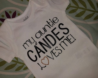 Items similar to custom auntie loves me baby bodysuit or for Pick me choose me love me shirt