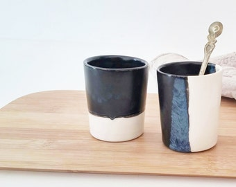 Ceramic Espresso Cup Set Of 2 In Black And White, Coffee lovers Gift, Modern Espresso Cups, Ceramic Tumbler, Unique Pottery Cup