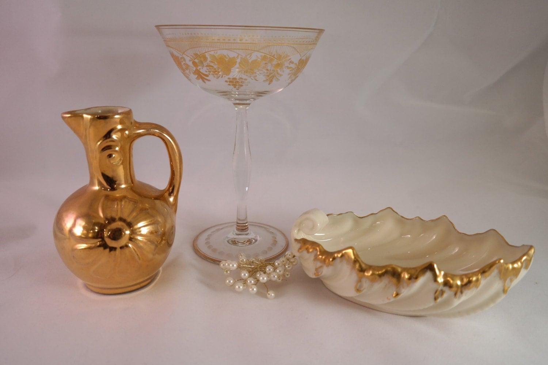 Vintage GOLD Home Decor Trinket Bowls And Vase Shabby Chic