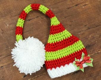Santa hat crochet santa hat crochet elf hat christmas hats crochet christmas hats newborn photo prop newborn christmas hat