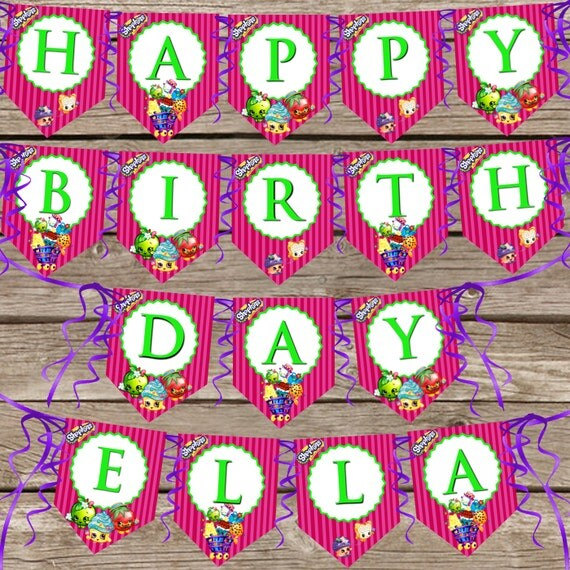 Shopkins Birthday Banner Shopkins Party Banner: Custom Shopkins Birthday Banner Digital Download By ClipArt911