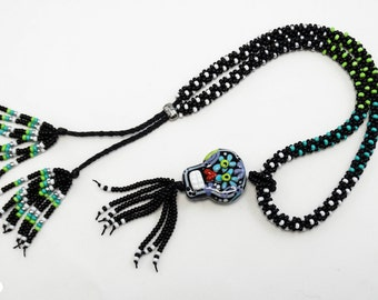 SUGAR SKULL necklace, Day of the Dead/Dios de la Muerte necklace, Kumihimo Rope Necklace