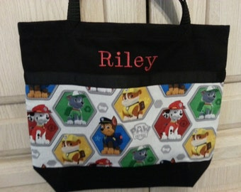 "Paw patrol tote bag, New 2 sizes!  14""x14""  or 20""x20"". Great book bag, overnight bag!"