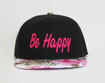 Pink Floral Baseball Snapback Hats,Black Dad Hats, Embroidered Be Happy Hat, Flat Bill Snapback Hats