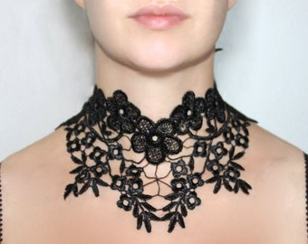Flamenco black lace necklace, large floral venise lace choker - flamenco gothic vintage victorian choker, halloween necklace