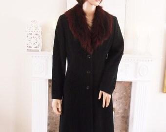 Black wool coat Faux fur collar Full length black wool coat Black wool winter coat Dark red faux fur collar coat Vintage black wool coat
