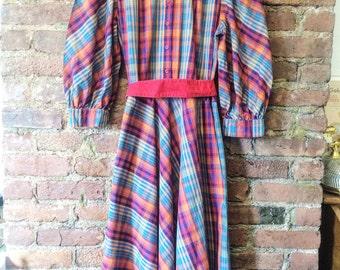 Vintage Plaid Little Women Style Dress