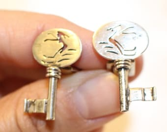 Vintage Sterling Silver Key Shaped Cuff links with a Girl Suit Accessories