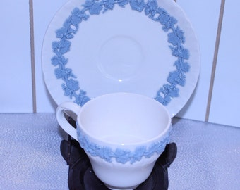 Wedgewood Demitasse Cup and Saucer Porcelain ~ Creamy Blue on Cream Wedgewood of Etruria & Barlaston Queens Ware Made in England