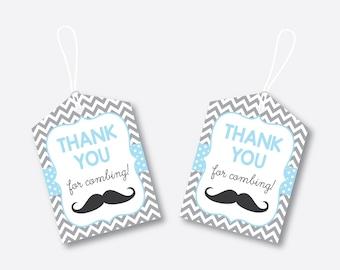 Instant Download, Mustache Favor Tags, Mustache Baby Shower Favor Tags, Mustache Thank You Tags, Gift Tags, It's a Boy, Little Man (SBS.22)