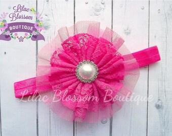 Hot Pink Lace Flower Headband, Baby Headband, Newborn Headband, Pink Bow, Baby Girl Headband, Shabby Chic Headband, Infant Headband, Infant