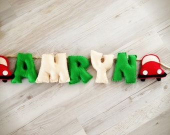 Felt Baby Name Banner or Bunting with little red cars