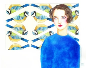 Portrait of woman with blue tits.  Original watercolor. Single piece hand painted by Rosedraft.