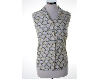 Stefanel Womens Sleeveless Shirt Small White Blue Yellow Floral Viscose