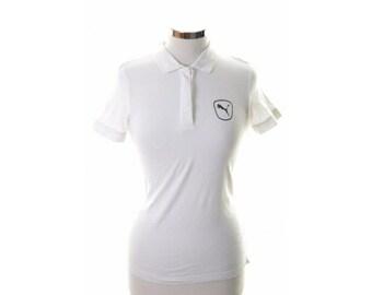 Puma Womens Polo Shirt Size 12 Medium White Cotton