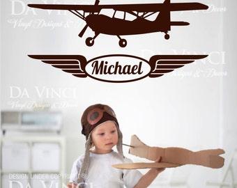 Airplane Aircraft Planes Wall Room Custom Name Vinyl Wall Decal Sticker Decor