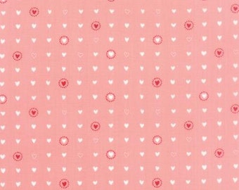 Lil Red Fabric - Red and White Hearts on Pink