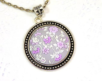 Ready to ship! - Floral Necklace Pendant applique - Polymer clay jewelry - Romantic Floral Jewelry - Gray pink Pendant Applique